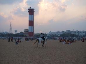 Söndagkväll på Marina Beach, Chennai